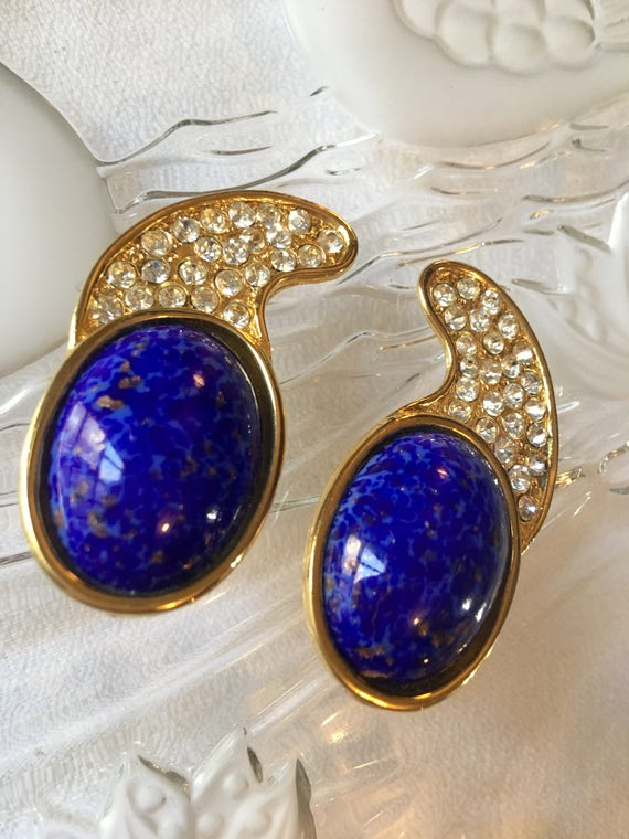 RESERVED Amazing Vintage French Oversized 80'S Runway Lapis Gripoux Diamanté Long Clip On Big Bling High Fashion Statement Earrings