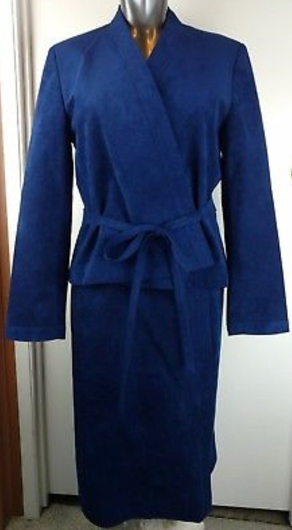 A Stylish Royal Blue Ultra Suede Vintage Roth-Le Cover Skirt Suit with Belted jacket & Pockets