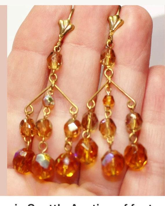 Fantastic vintage Orange AB Crystal goldtone Chandelier Dangle Earrings
