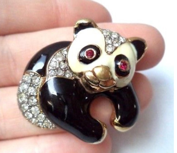 "Estate Vintage Enamel & Rhinestone Figural Panda Bear SIGNED CRAFT 1 5/8"" Brooch"