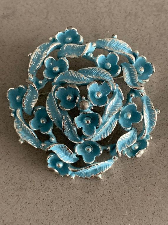 Sky Blue Floral Pin Signed BSK , Hollywood Regency Cottage Style Garland Wreath Vintage Brooch