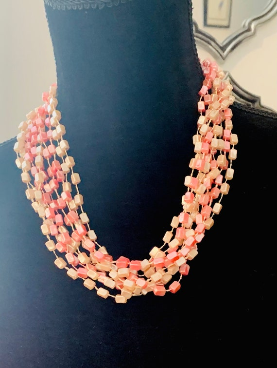 Pale Pink Multi Strand Beaded Necklace, Mid Century Modernist 50s Post War Pastel Torsade Cocktail Necklace Made in Hong Kong