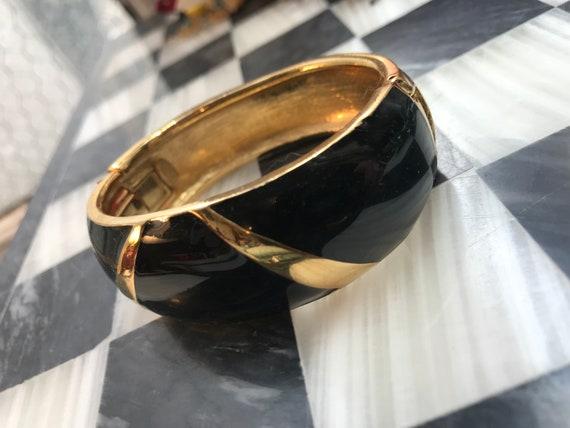 Vintage TRIFARI Black Enamel on Goldtone Clamper Bangle Bracelet, Awesome 80s Art Deco Revival Glamour Jewelry