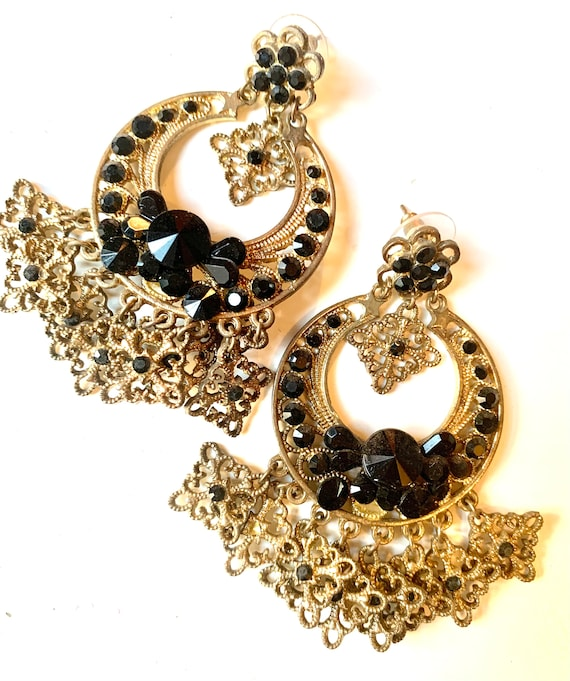 Boho Gypsy Chandelier Hoops, Etruscan Bronzy Goldtone & Black Rhinestone 90s Glam Statement Earrings by Elizabeth Jadore NYC PARIS LONDON
