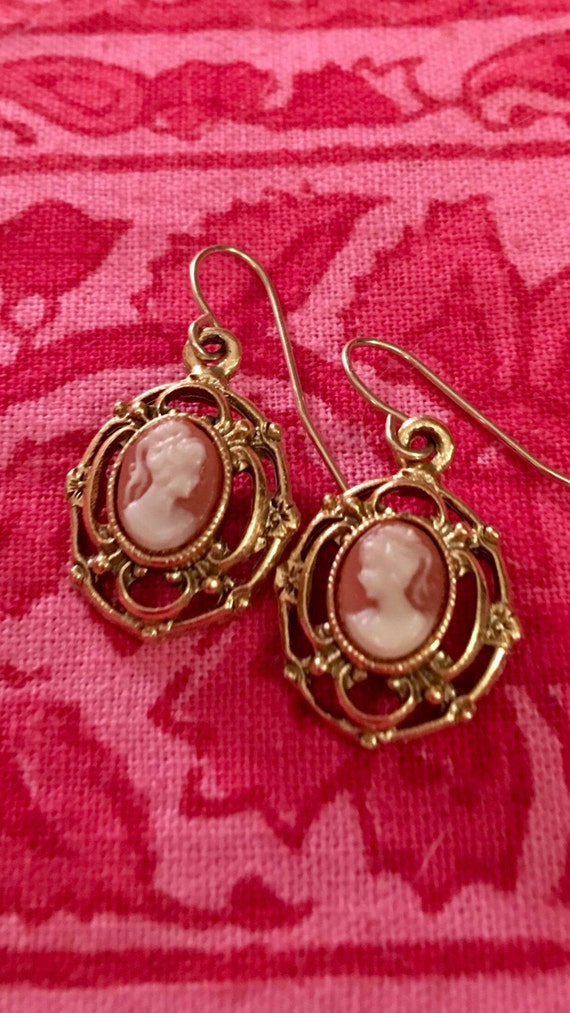 70s Victorian Revival Cameo drop & dangle earrings