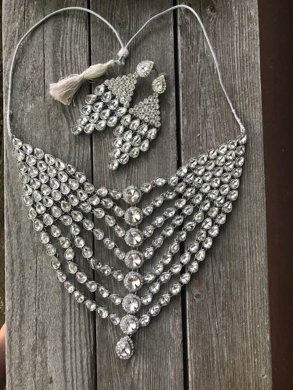Insanely Beautiful Vintage Rhinestone Hollywood Bollywood Glamour Necklace and Huge Bling Dangle Earrings Gorgeous 80s Art Deco Disco