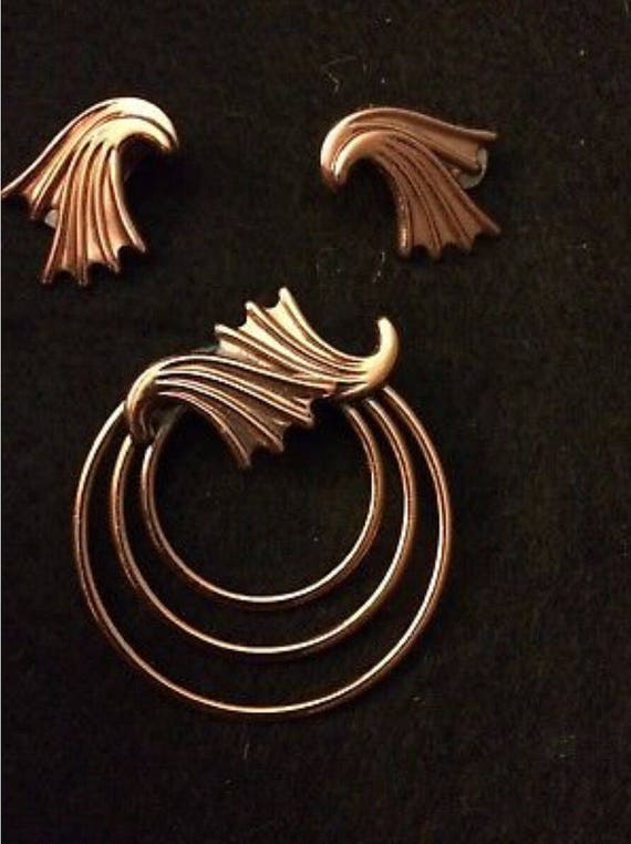 MID CENTURY MODERN Cooper Brooch and Earring Set