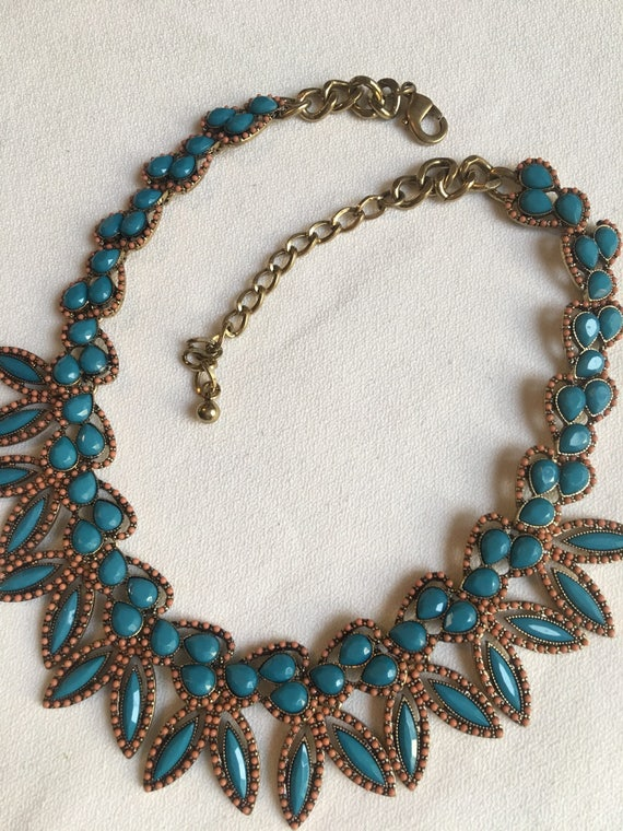 90's Modern Southwestern Choker, Stunning Coral & Turquoise Blue Lucite Beaded Resort Jewelry, Statement Necklace