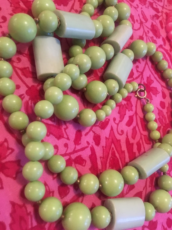 "Chunky Funky Nice MidCentury Plastic  Chartruse Lime 49"" Long Geometric Beads with Small brassy goldtone Spacers"