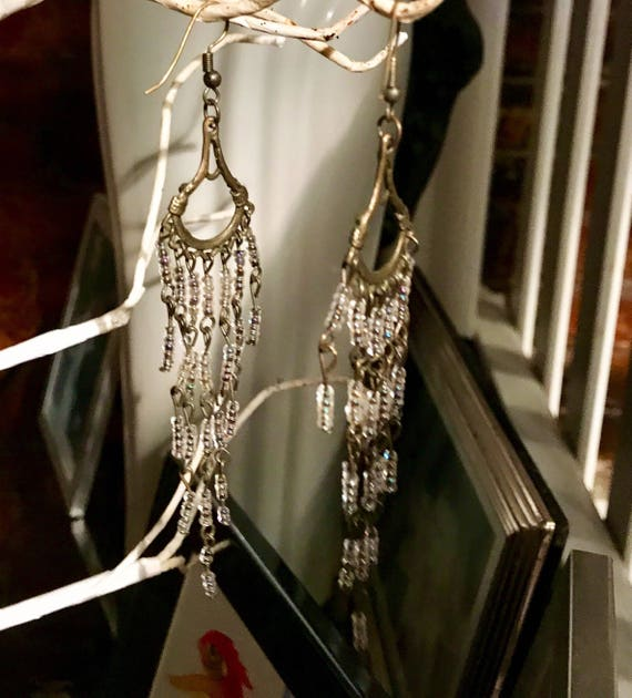 Romantic Long Cast Bronze Tone Metal Chandelier Earrings with Dangling Crystal Clear Sprarkling beads perfect for casual summer wedding