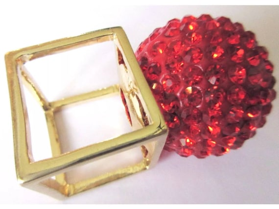 Extraordinary Red Crystal High Dome Architectual Wicked Cool Party Runway Bling Ring!