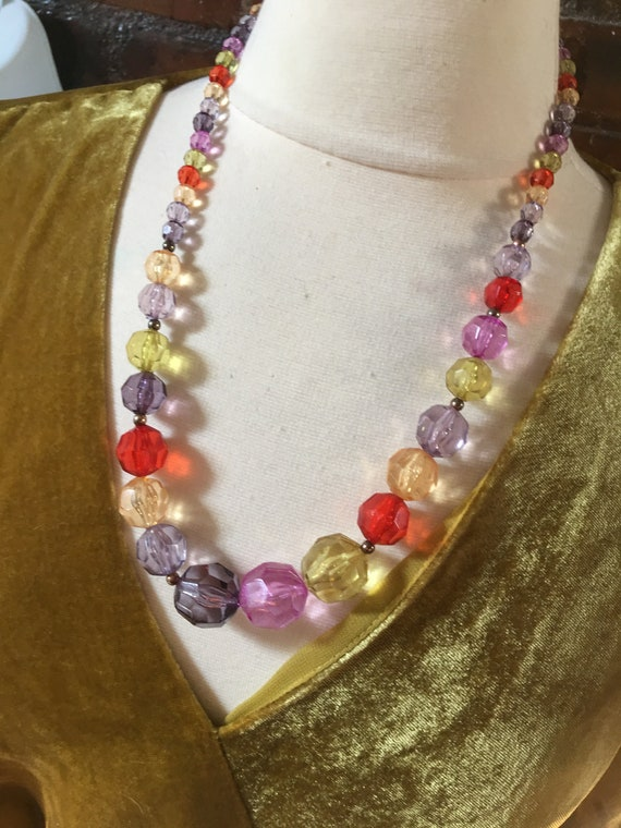 Vintage Lucite Crystal Rainbow Necklace, Faceted Acrylic Gem Graduated Beaded Statement Necklace,Cheerful Colorful Beads,Vintage Pride Bling
