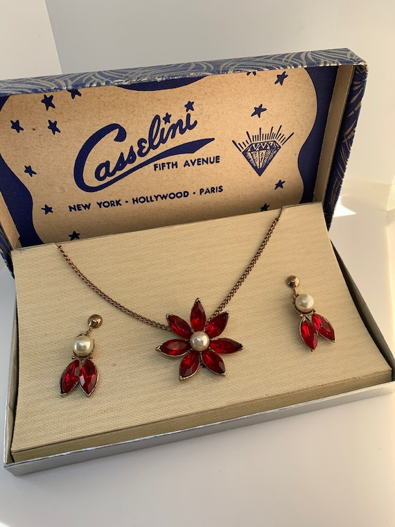 Art Deco Red Rhinestone and Pearl Floral Flower Pendant Necklace & Earrings Jewelry Set, Original Box by Casselini New York Hollywood Paris