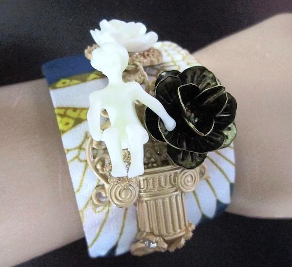 Very Unususl Designer Unsigned Modernist Human Figural Silky Fabric Rhinestones & Celluloid Edgy Cuff  Bracelet