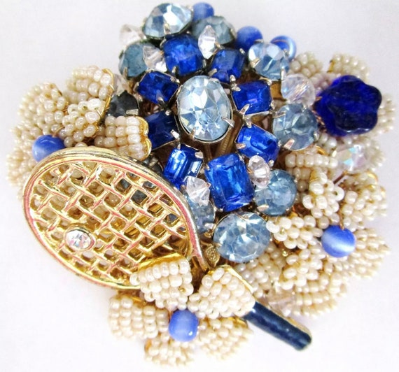 Estate Jewelry STANLEY HAGLER NYC  Blue & White Tennis Themed Brooch Hand Beaded One of a Kind Custom Made
