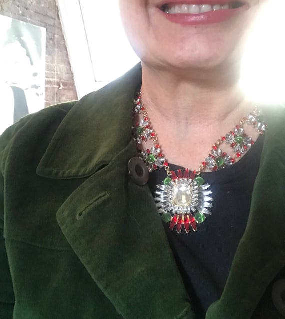 Gorgeous Red Clear & Green Rhinestone Necklace