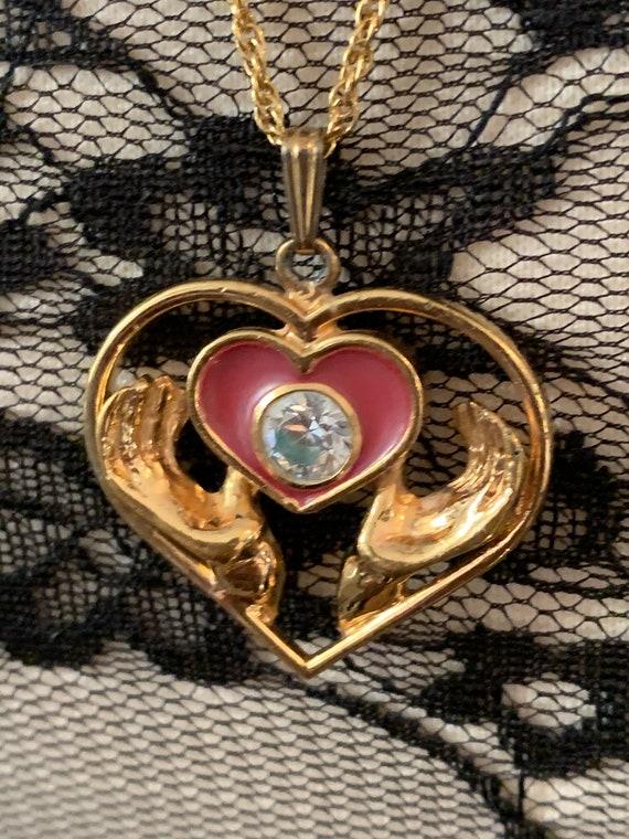 Loving Hands Golden Heart Rhinestone Pendant Necklace