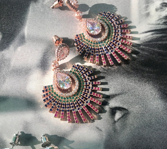 """New Art Deco Peacock Fan Style 18K Rose Gold plated Muliti Color Rainbow Cubic Zurconia Sparkling 2"""" Dangle Earrings"""