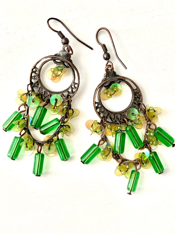 Gypsy Sweetheart Emerald Green Glass Beaded Bronzy Goldtone Chandelier Earrings, Big Bold Sexy Swingy 90s Glamour Grunge Statement Earrings