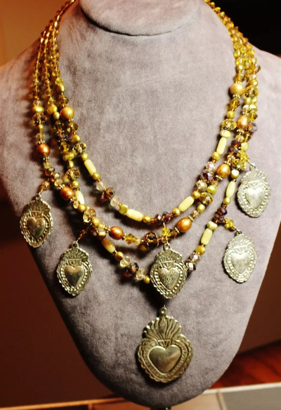 Boho Tribal Mixed Crystal Pearl & Milagro Golden Heart Tiered Charm Necklace
