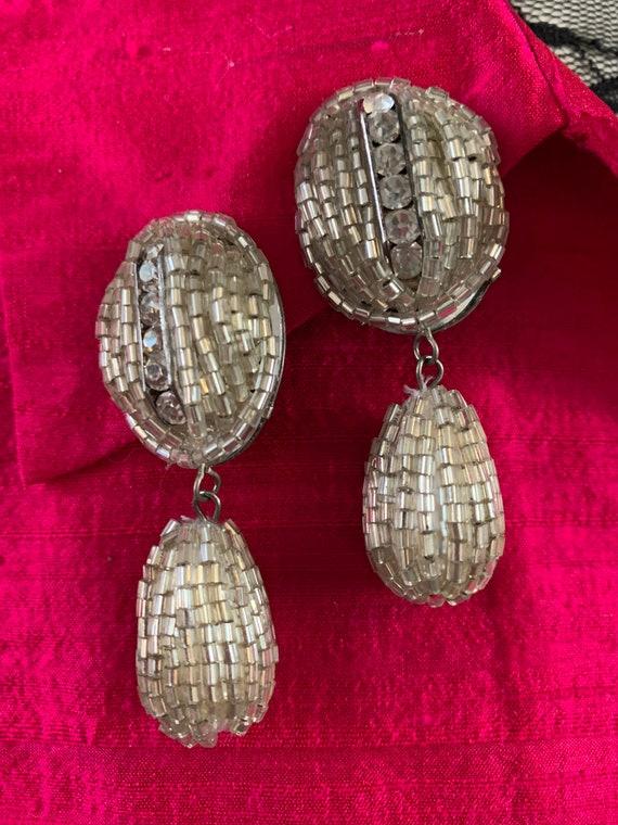 Vintage Art Deco Crystal Beaded Rhinestone Oversized Teardrop Dangle and Drop Elegant Statement Earrings