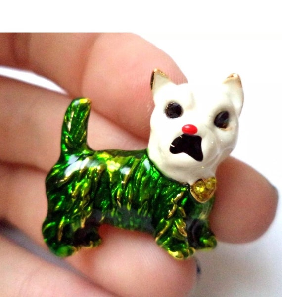Little Green & White Enamel French Terrier Pin with yelllow rhinestone Bow