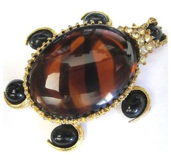 Fantastic Designer Vintage Pauline Rader Tiger Striped Jelly Belly & Rhinestone Turtle Unisex Lapel Pin Brooch