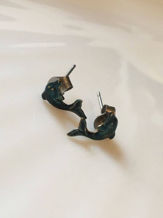 Very old tiny little Blue Metal Dolphin post Earrings so adorable
