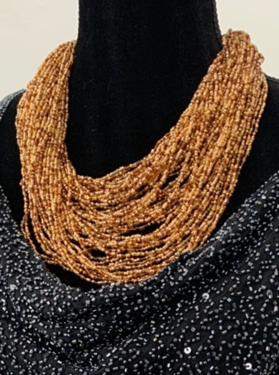 Joan Rivers Statement Necklace, Amber Golden Beads Multi Strand Torsade Necklace, 90s Glamour Jewelry