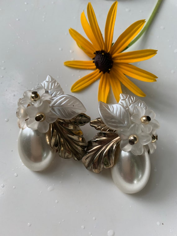 Dramatic Art Deco Floral Pearl Earrings, 50s Bridal Jewelry
