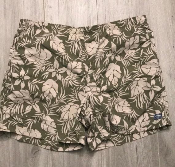 LL Bean Tropical Hawaiian Print Swimtrunks, Tan & Beige Khaki Floral Magnolia Print Lined Swimsuit with Pockets