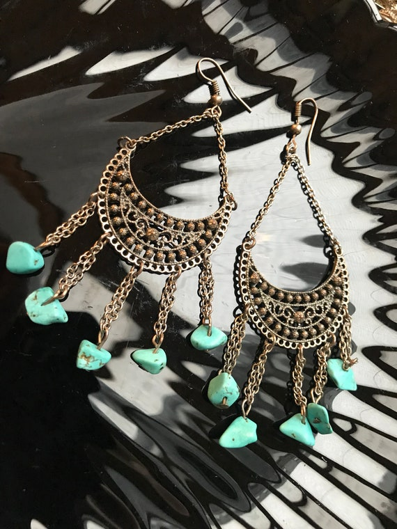 Cinematic 70s Costume Jewelry Huge Over the Top Egyptian Southwestern Mash Up Runway Fashion Filigree & Turquoise Chandelier Dangle Earrings