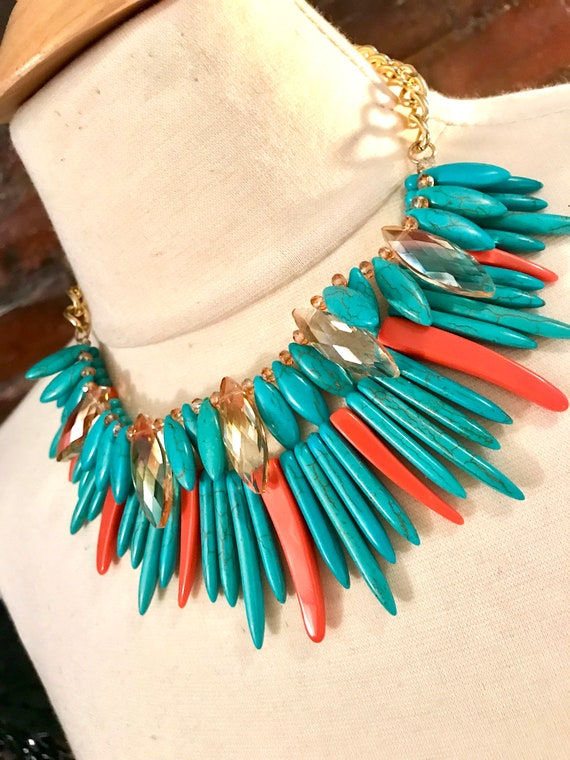 Festive Blue and Orange Nefertiti Collar Choker Statement Necklace