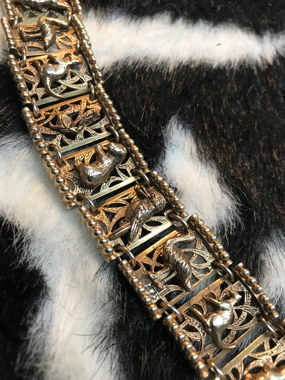 Ornate Golden Link Australian Animals Bracelet, kangaroo Ostrich crocodile & more!