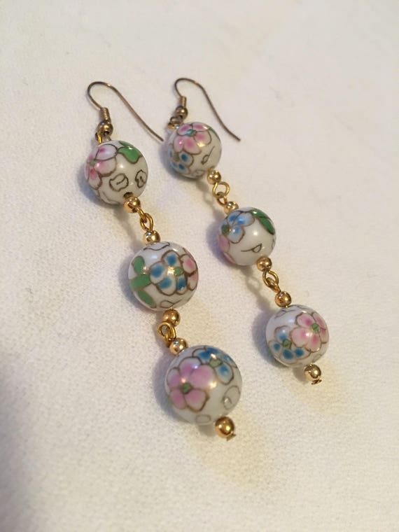Pretty Pink & Green  Flowers on White Porcelain Beads on Goldtone Chain Dangle Earrings