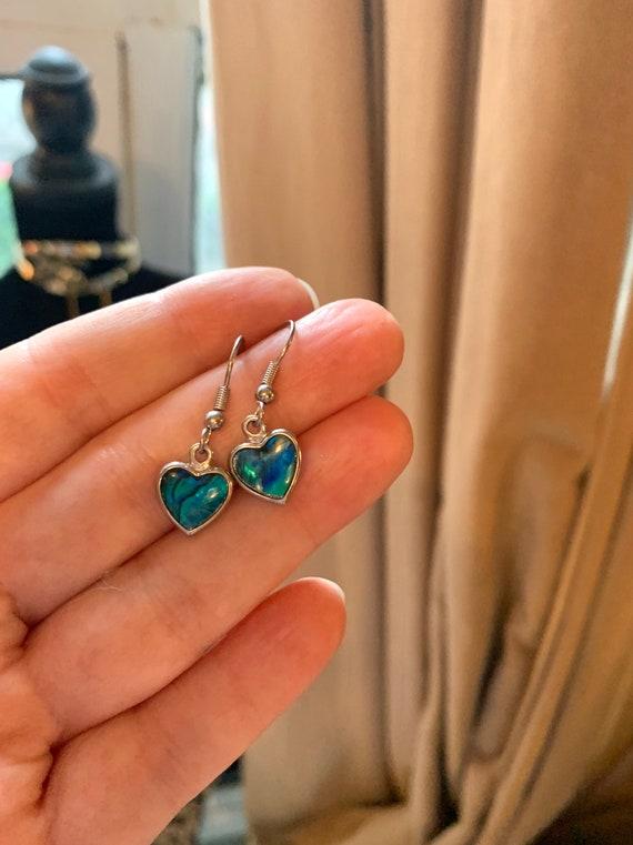 Vintage Abalone Heart Dangle Earrings