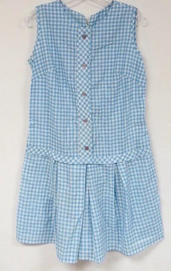 Blue Gingham Country Girl Romper,  Cottage Chic Vintage 1960's Light Blue Skort Romper size M, excellent vintage condition