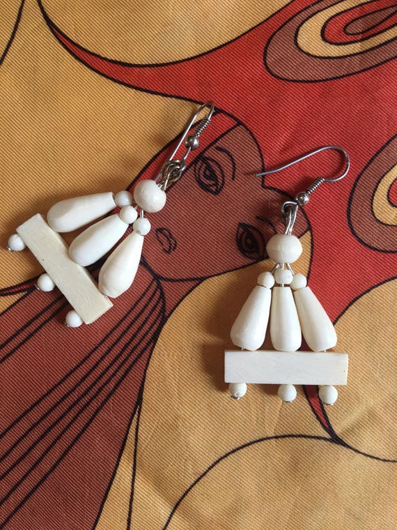 Tribal Art Carved Bone Beaded Dangles, 70s Vintage Earrings