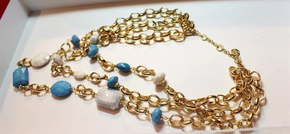 Vintage Multi Strand gold chained & gem cut beaded Signed Trifari statement necklace
