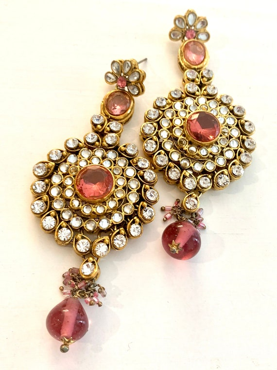 Pink 90s Glam Victorian Revival Statement Earrings, High End Bold Bling, Vintage Mogul Jewelry, Rose Crystal Teardrop Dangles by Aroosa