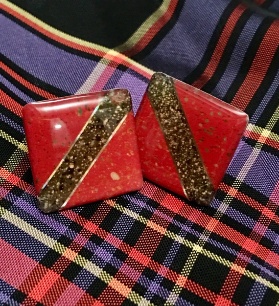 Vintage Modern color block red & black graffic Square earrings  with metalic flecks pierced