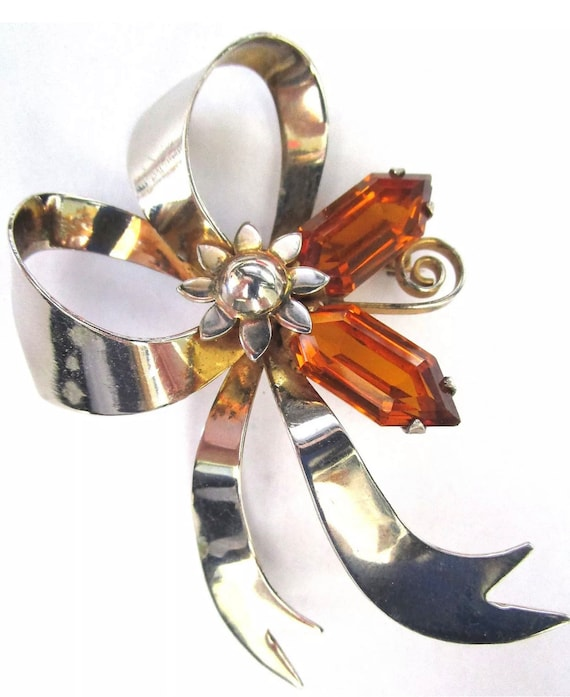Rare Style Big Sterling Art Deco Bow & Flower Lapel Pin with Unusual Cut Modernist Amber Rhinestones