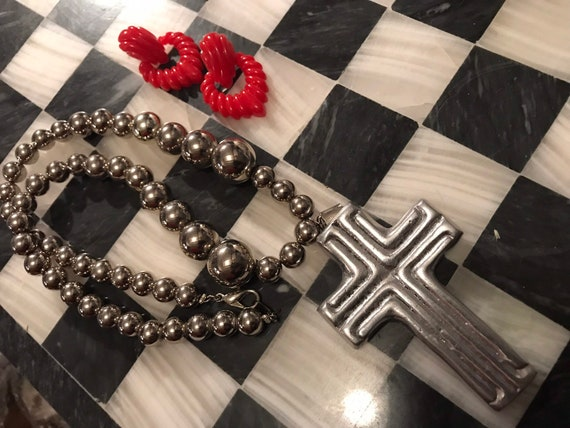 Amazing 90s Glam Aluminum Modernist Cross Assemblage Silver Beaded Statement Necklace, Material Girl Big Bling Glamour Jewelry, so Madonna