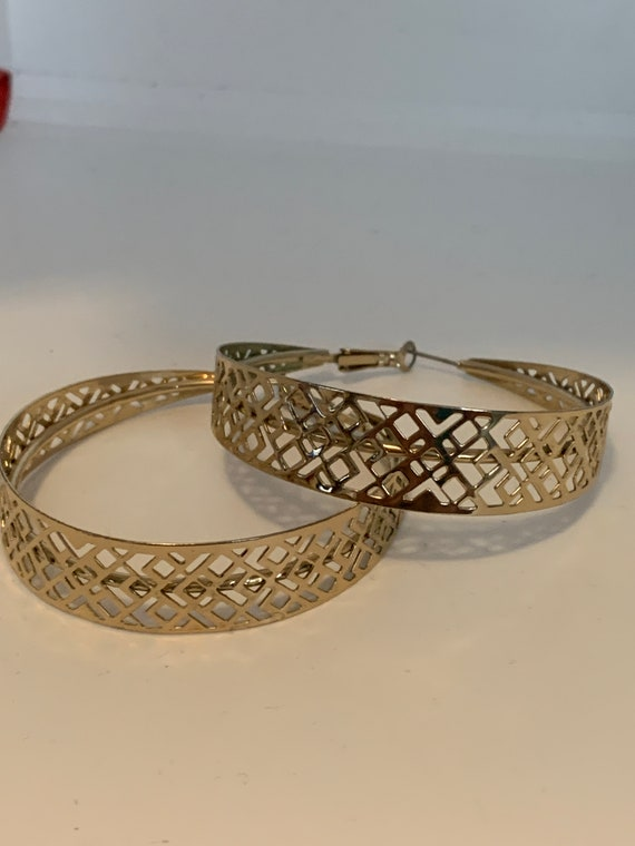 Huge Disco Lattice Openwork Hoops, Vintage Gold Tone Runway Statement Earrings, Disco Jewelry