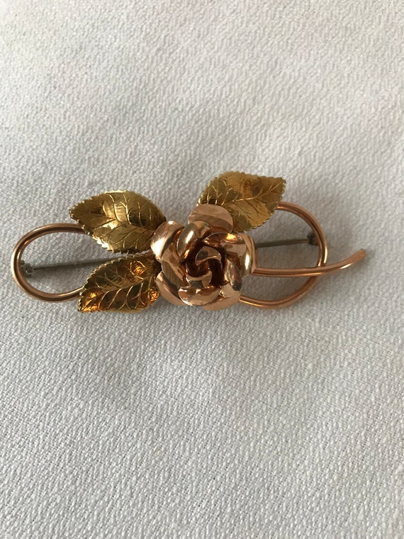 Vintage Kremetz Rose Spray Pin, Layered Gold Plate Elegant Floral Unisex Lapel Pin, Prom Wedding Jewelry, Golden Rose Corsage or Boutonnièr