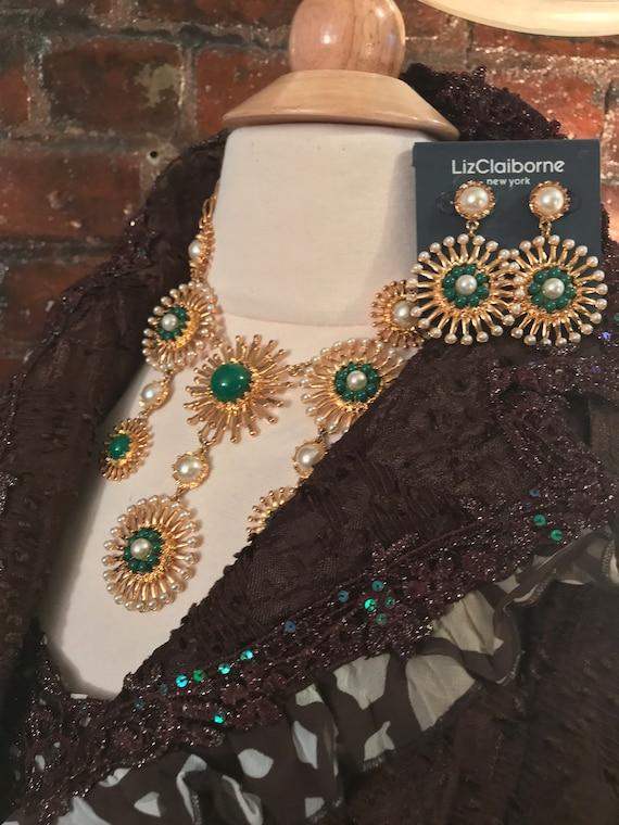 Vintage Liz Claiborne Goldtone Sunburst Green Cabochon & Faux Pearl matching Statement Necklace Earrings Set 1980s designer Bling Unworn