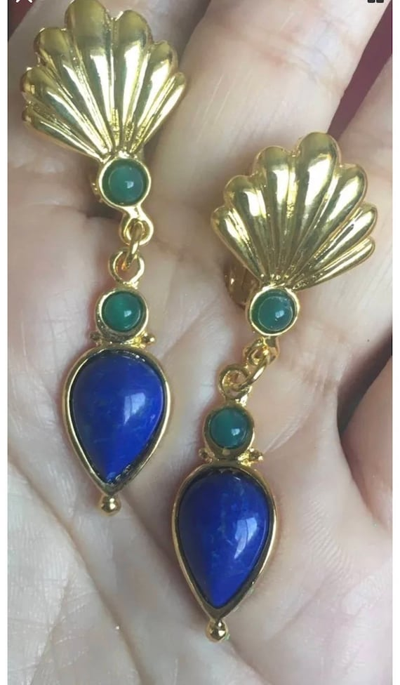 80's Deco Style  Blue & Green Polished Stone Goldtone Modernist 80's Clip on Dangle Earrings