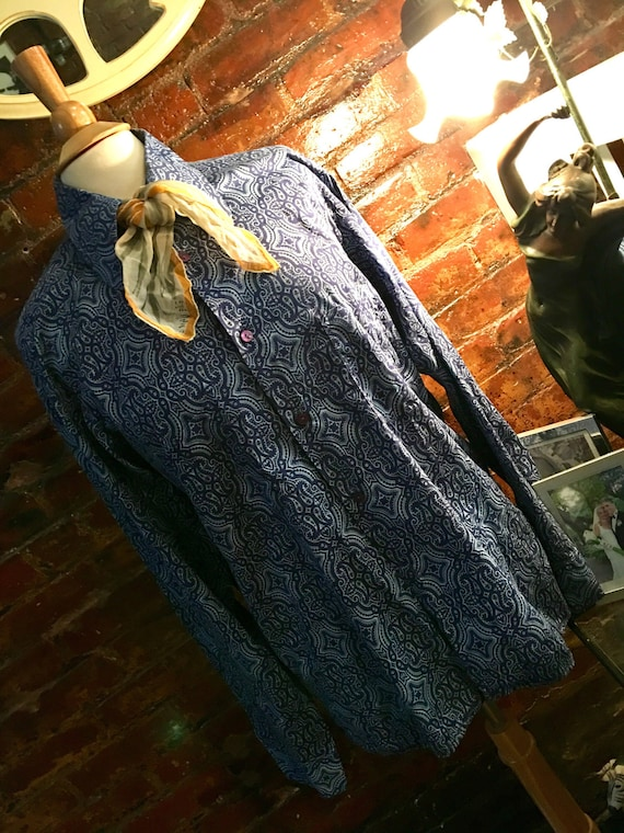 Sassy Vintage Blue Cotton Paisley Big Collared Shirt by Poetic of Scotland & vera wang scarf