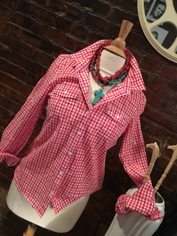 Tommy Hilfiger Pink Orange & White Checked Cotton Country Girl Styled Blouse size M