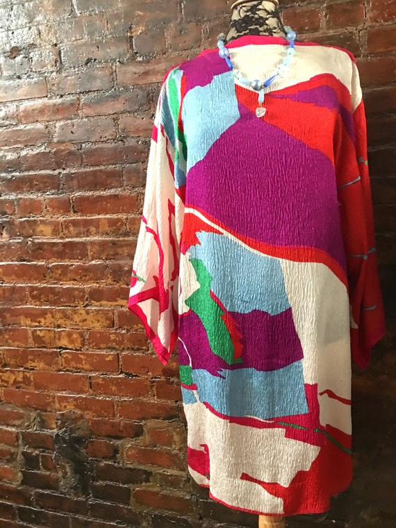 Vintage Abstract Mod Silk Print Tunic Dress, extremely Chic designer made one of a kind size Medium